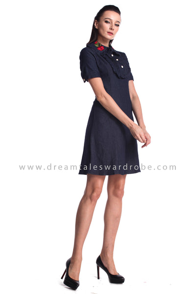 DT0955 Embroidered Collared Jeans A Line Dress - Dark Blue