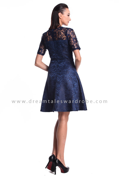 DT0956 Sequins Details Fit & Flare Dress - Blue