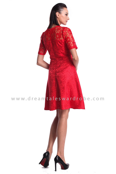 DT0956 Sequins Details Fit & Flare Dress - Red