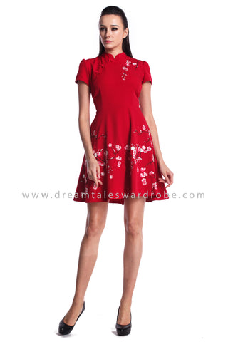 DT0957 Embroidered Cherry Blossom Cheongsam  - Red