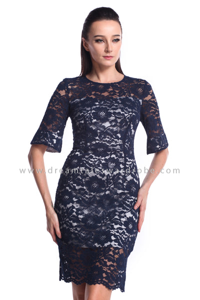 DT1211 Lace Fluted Sleeves Dress - Blue