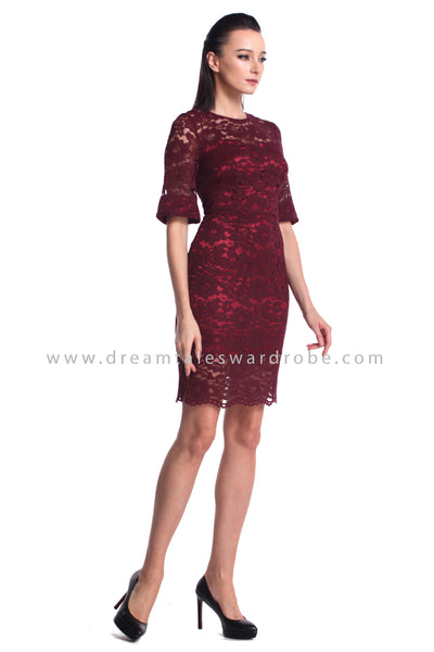 DT1211 Lace Fluted Sleeves Dress - Burgundy