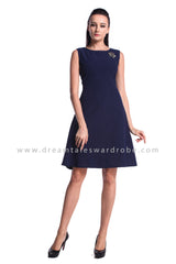 DT0959 Plain Overlap Curves Slit Dress - Blue