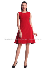 DT0959 Plain Overlap Curves Slit Dress - Red
