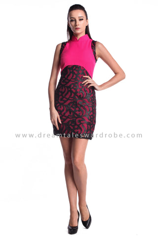 DT0963 Sleeveless Contrast Cheongsam Dress - Pink