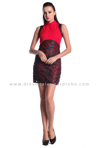 DT0963 Sleeveless Contrast Cheongsam Dress - Red