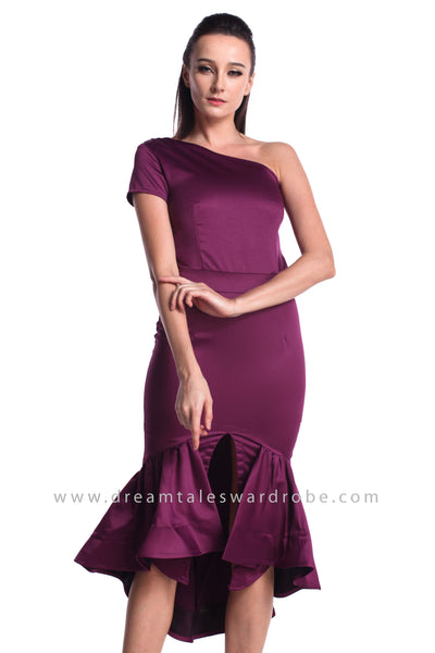 DT0964 One Shoulder Mermaid Ruffles Hem Dress - Purple