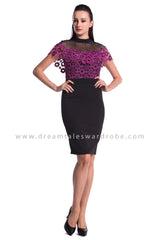 DT0966 Lace Cape Details Dress  - Purple