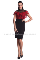 DT0966 Lace Cape Details Dress  - Red