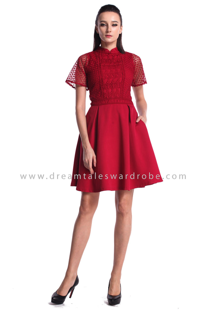 DT0968 Lace Blend Flare Sleeves Cheongsam Dress - Maroon