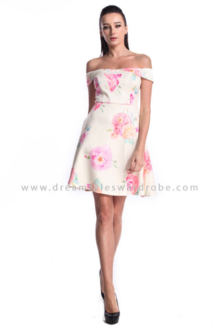 DT0970 Bardot Floral Fit & Flare Dress - Cream (DreamTales Exclusive)