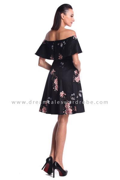 DT0971 Off Shoulder Ruffles Floral Dress - Black (DreamTales Exclusive)
