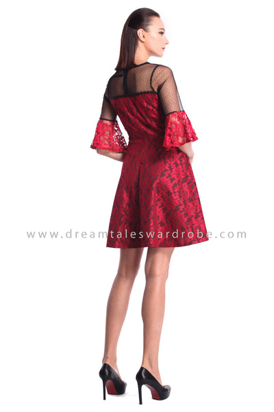 DT0972 Mesh Lace Flare Sleeves Dress - Red