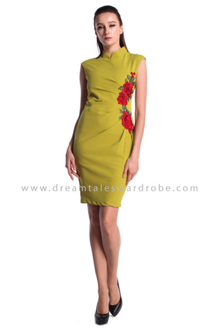 DT0973 Floral Applique Cheongsam Dress - Green