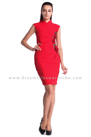 DT0973 Floral Applique Cheongsam Dress - Red