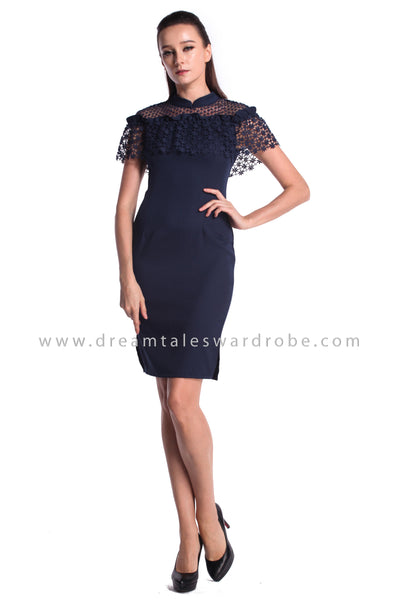 DT0975 Guipure Lace Dress - Blue