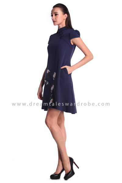 DT0980 Cap Sleeves Embroidered Flare Cheongsam Dress - Blue