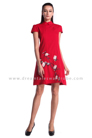 DT0980 Cap Sleeves Embroidered Flare Cheongsam Dress - Red