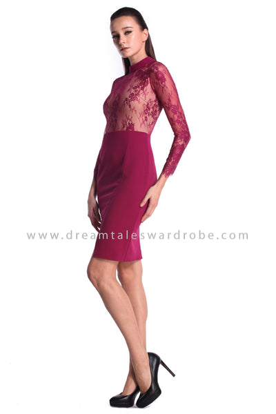 DT0981 Illusion Sheer Lace Pencil Dress - Purple