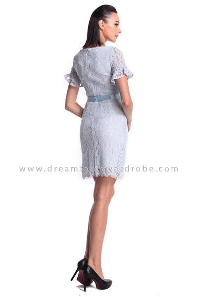 DT0984 Floral Embroidered Ruffles Sleeves Dress - Blue (DreamTales Exclusive)