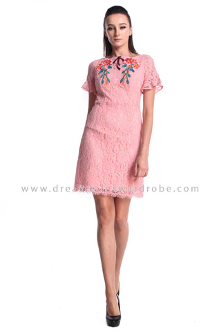 DT0984 Floral Embroidered Ruffles Sleeves Dress - Pink (DreamTales Exclusive)