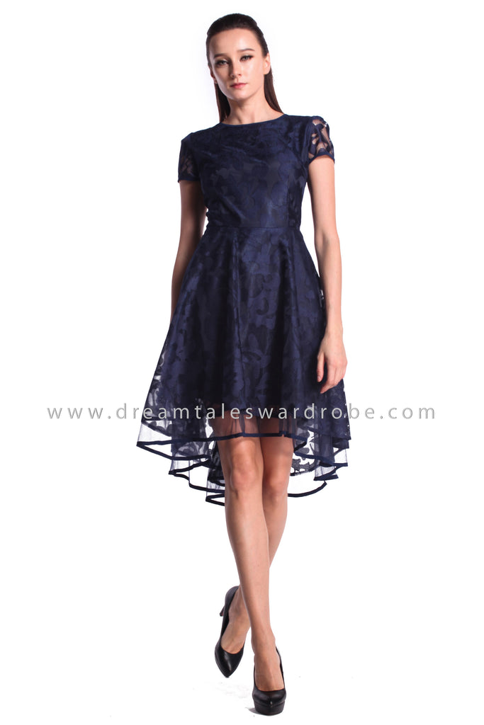 DT0985 Asymmetrical Hem Netting Lace Dress - Blue