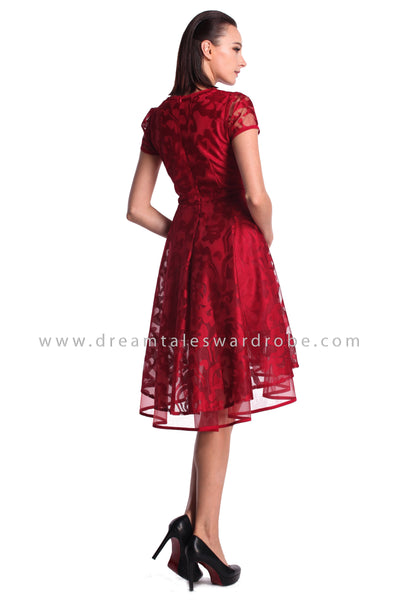 DT0985 Asymmetrical Hem Netting Lace Dress - Maroon
