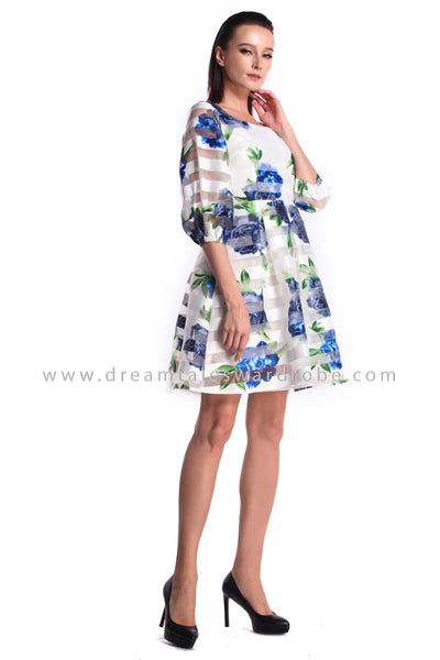 DT0986 Floral Puffy Sleeves Flare Dress - Blue