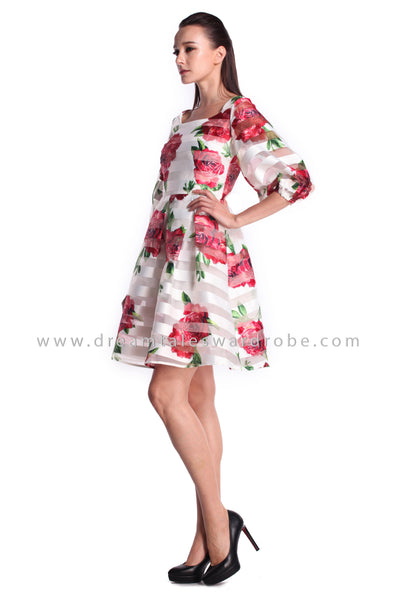 DT0986 Floral Puffy Sleeves Flare Dress - Red