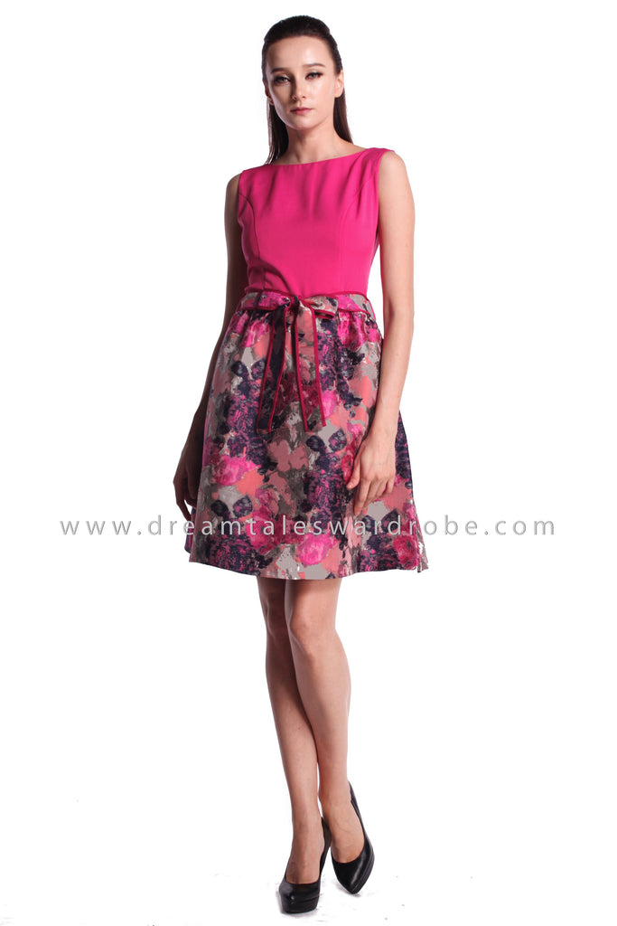 DT0987 Duo Floral Fit & Flare Dress - Pink