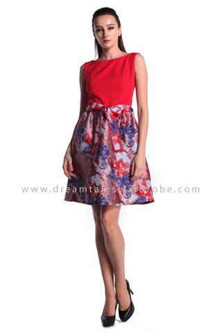 DT0987 Duo Floral Fit & Flare Dress - Red