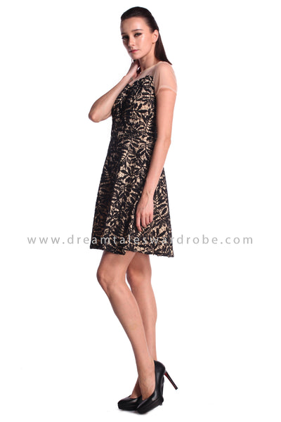 DT0988 Mesh Crochet Lace Fit & Flare Dress - Black