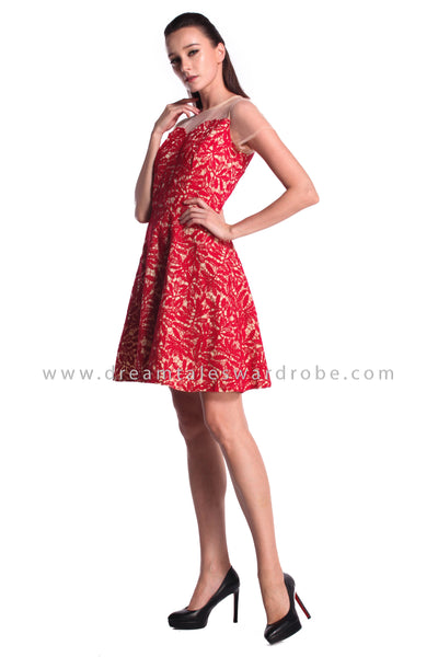 DT0988 Mesh Crochet Lace Fit & Flare Dress - Red