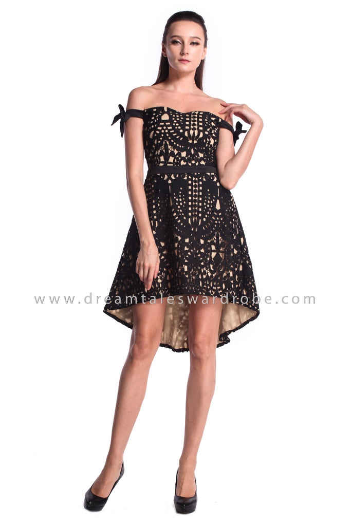 DT0989 Off Shoulder Crochet Lace Asymmetrical Dress  - Black