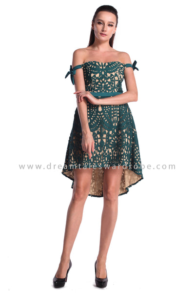 DT0989 Off Shoulder Crochet Lace Asymmetrical Dress  - Green