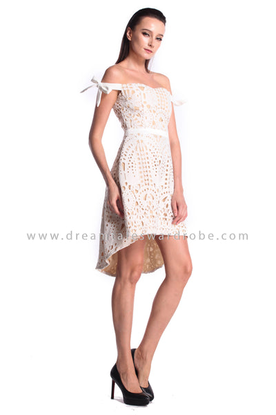 DT0989 Off Shoulder Crochet Lace Asymmetrical Dress  - White