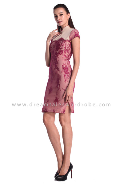 DT0991 Lace Cheongsam Dress - Purple