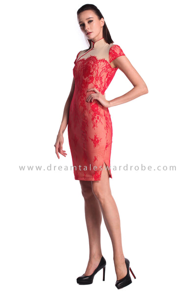 DT0991 Lace Cheongsam Dress - Red