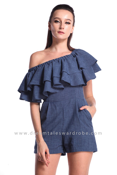DT0992 Off Shoulder Ruffles Playsuit - Blue