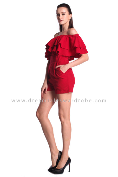 DT0992 Off Shoulder Ruffles Playsuit - Red