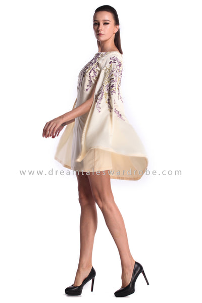 DT0994 Floral Embroidered Details Cape Dress - Cream (DreamTales Exclusive)