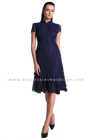 DT0995 Lace Asymmetrical Hem Cheongsam Dress - Blue