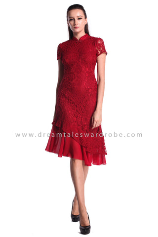 DT0995 Lace Asymmetrical Hem Cheongsam Dress - Maroon