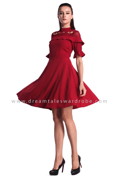 DT0996 Embroidered Ruffles Details Fit & Flare Dress - Maroon