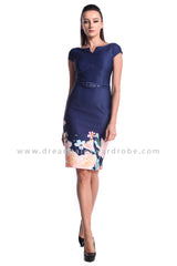 DT0998 Floral Pencil Dress - Blue (DreamTales Exclusive)