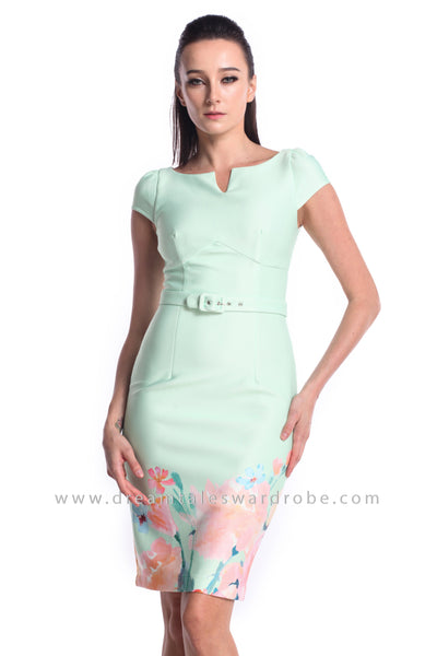 DT0998 Floral Pencil Dress - Powder Green (DreamTales Exclusive)