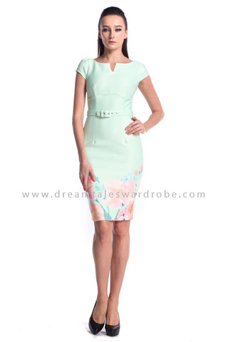 DT0998 Floral Hem Pencil Dress - Powder Green (DreamTales Exclusive)