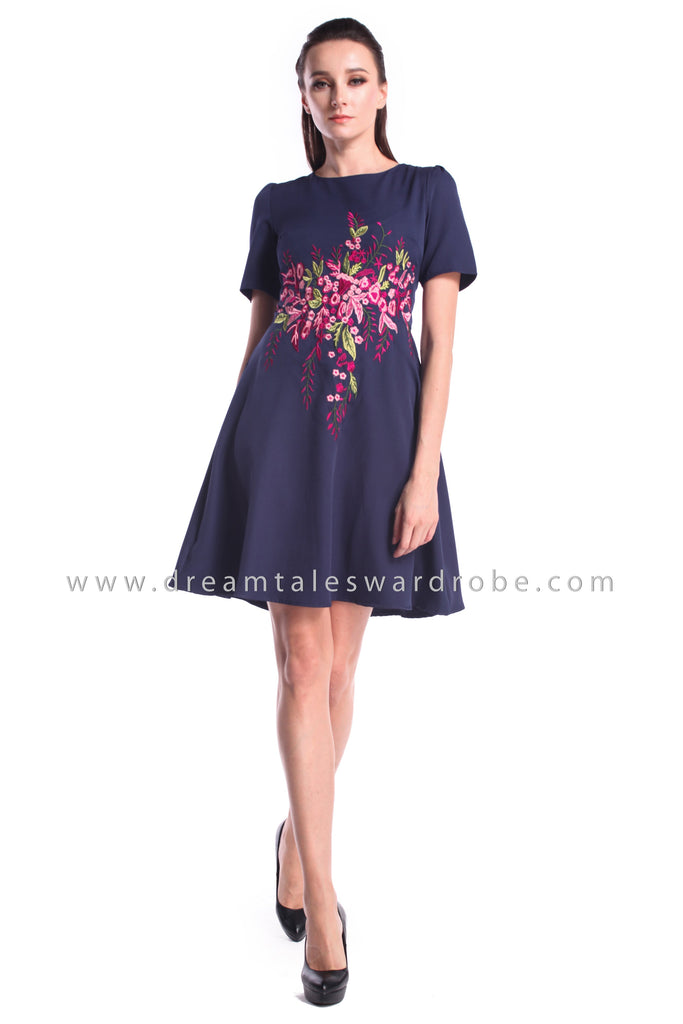 DT0999 Floral Embroidered Fit & Flare Dress - Blue