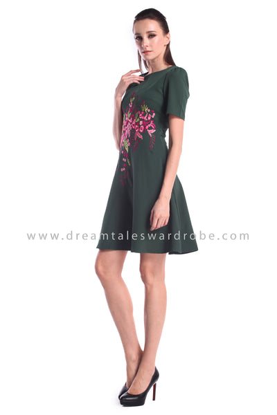 DT0999 Floral Embroidered Fit & Flare Dress - Green