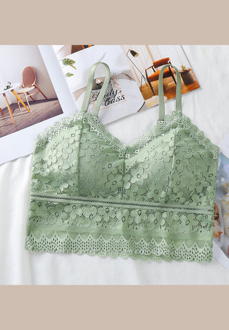 DTB102 Lace Crop Top Bra - Green